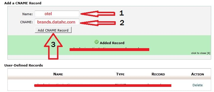 HotelsCombined cPanel cname added