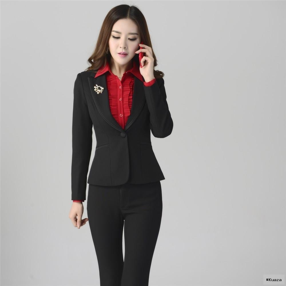 2016 2016 Women Sets Womens Business Suits Black Pants Suit Formal …