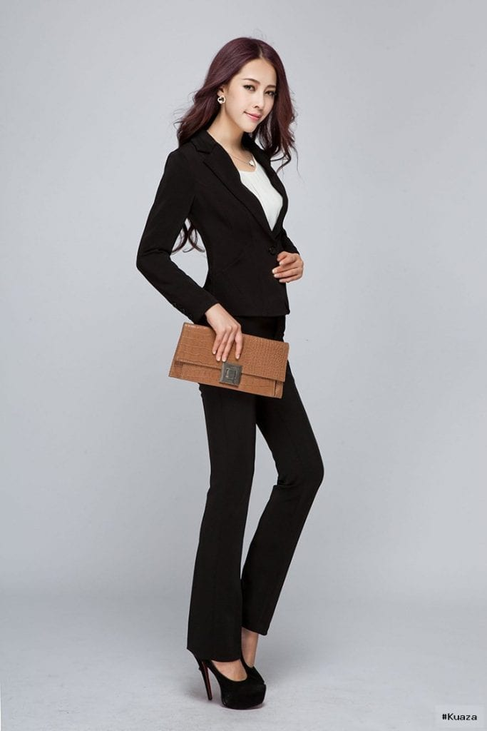 2016 Office Ladies Beige / Black Pants Suits Hot Autumn Winter …