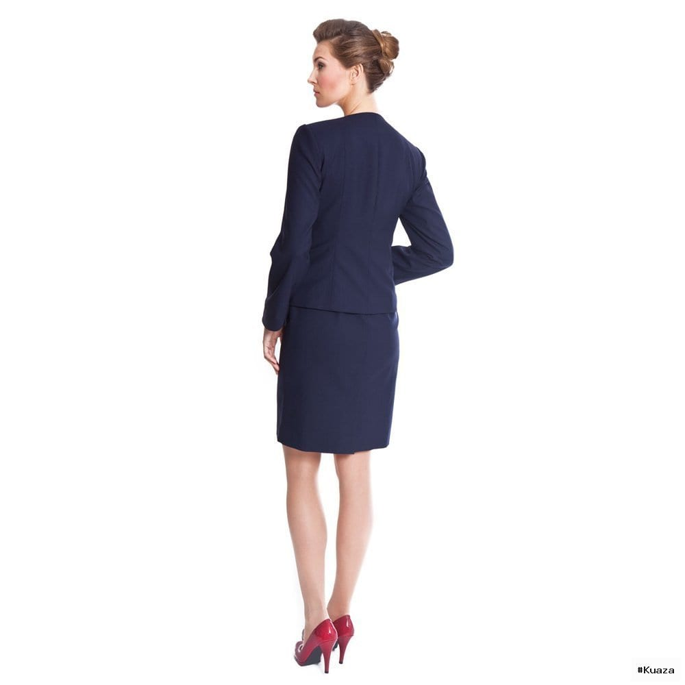 Navy Blue Skirt Suit, Womens Suits At Pinstripe & Pearls – NOOSHIN